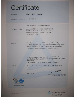 AOI ISO 14001 2004 Certificate